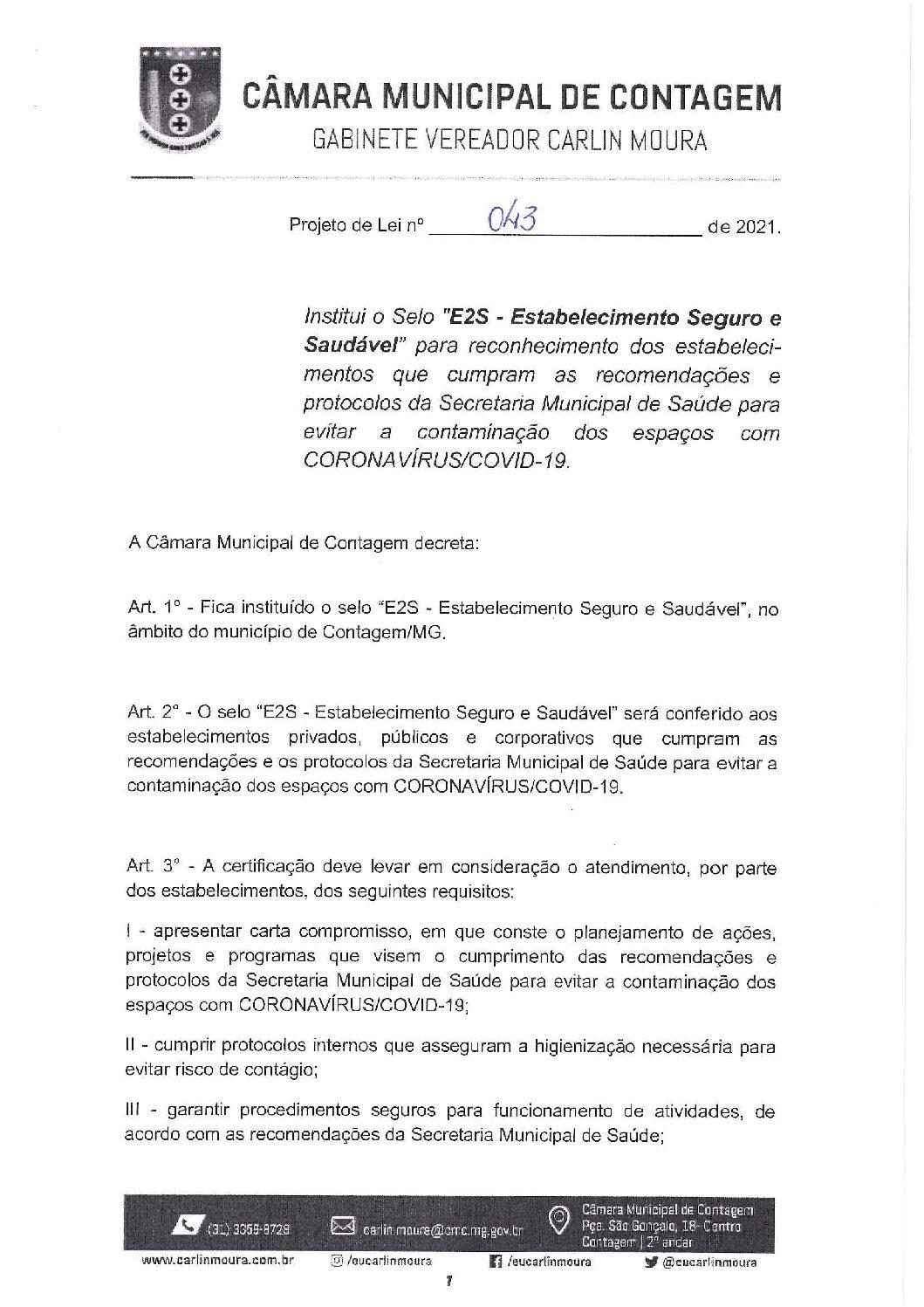 Projeto de lei 0043/2021