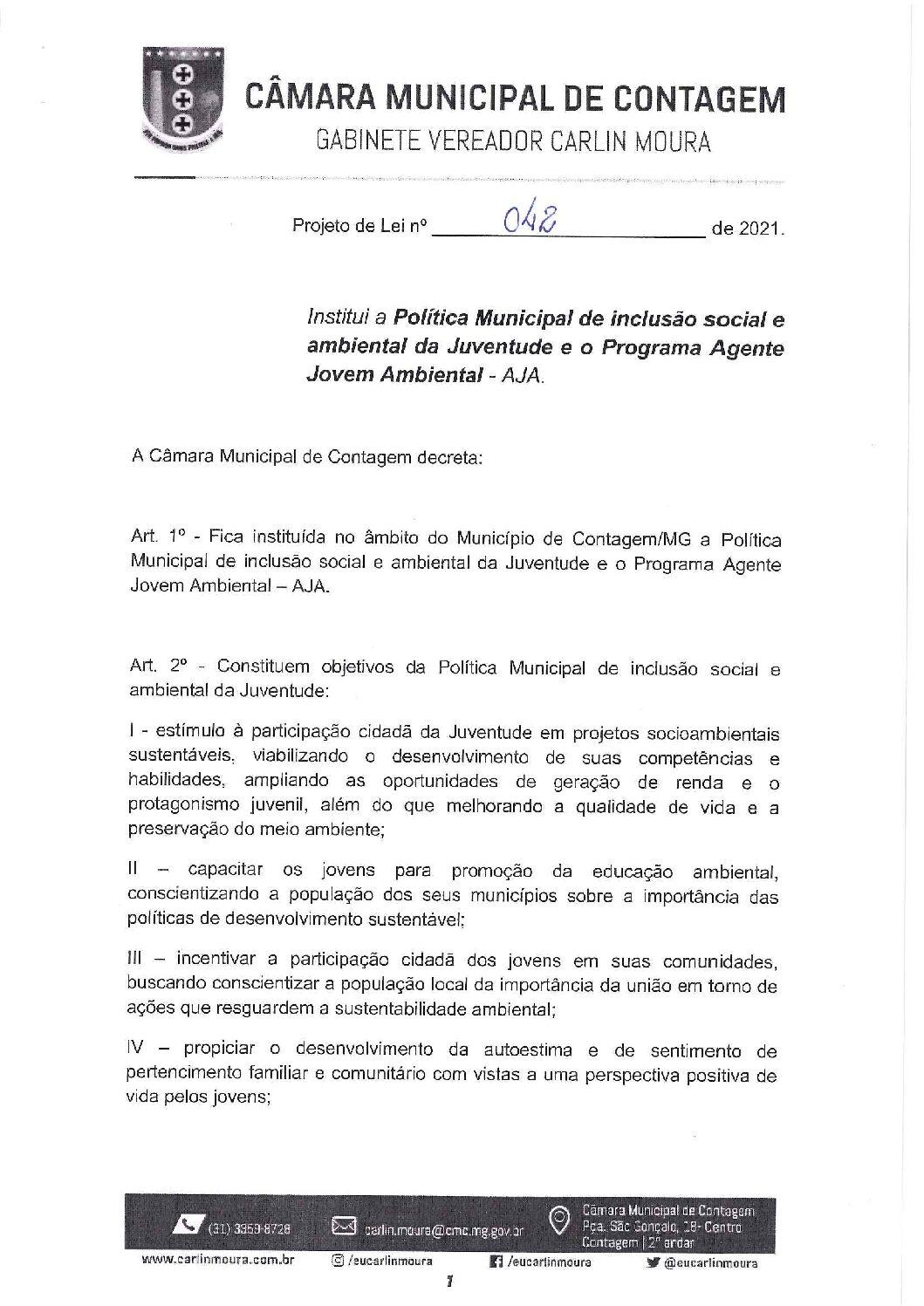Projeto de lei 0042/2021