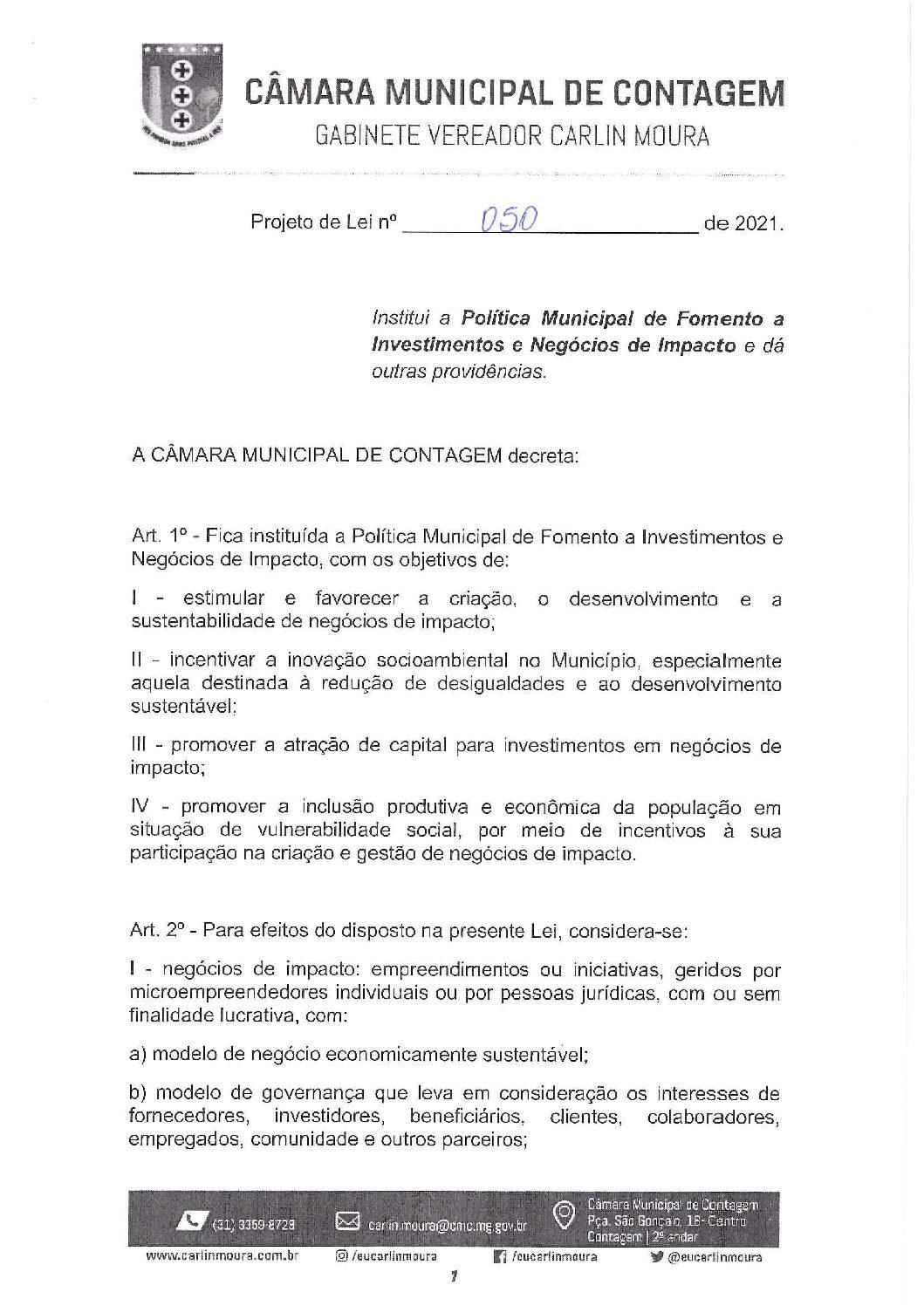 Projeto de lei 0050/2021