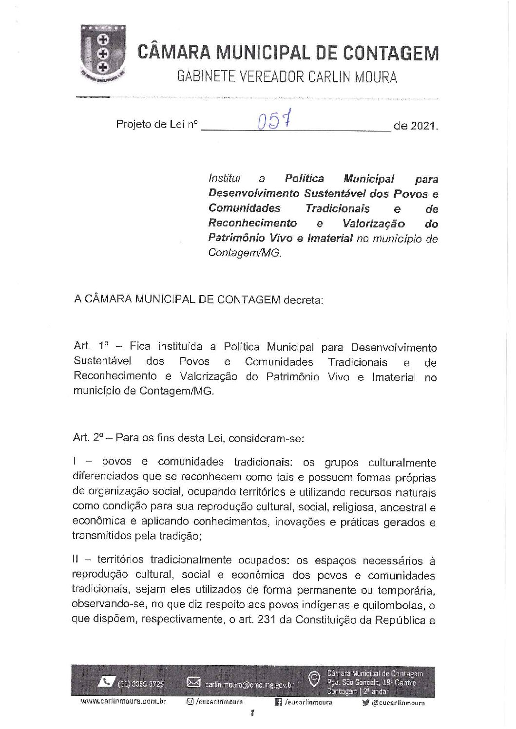 Projeto de lei 0057/2021