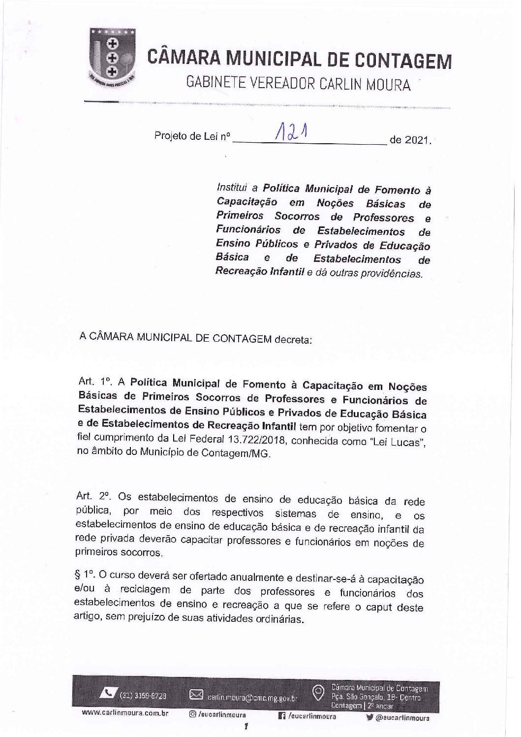 Projeto de lei 0121/2021